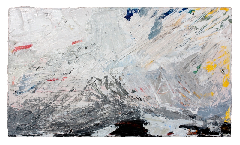 distant landscape (mountain) acrylic and latex on mounted wood 14 3/8 in x 8 1/2 in 2011