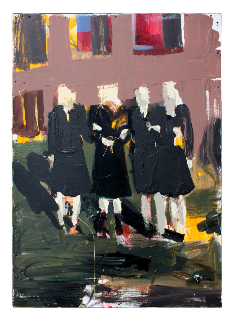four women holding arms acrylic and latex paint on mounted wood 33 3/4 in x 48 3/8 in