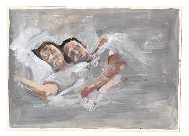 couple in dreams acrylic and latex on archival paper 2011