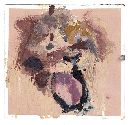 wild cat pink acrylic and latex on archival paper 5 in x 5.375 in 2011